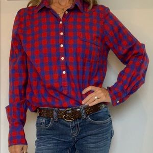 J. Crew Plaid Popover Long Sleeve Collared Shirt